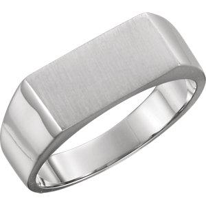 Fashion Rings , Palladium 15x7.5mm Men's Rectangle Signet Ring