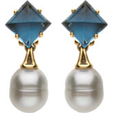 Aquarella® South Sea Cultured Pearl & London Blue Topaz Earrings