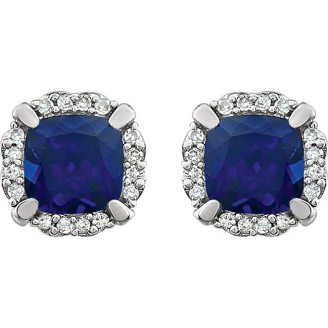 14K White Created Blue Sapphire & 1/10 CTW Diamond Earrings