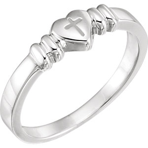 Sterling Silver Heart with Cross Chastity Ring Size 8