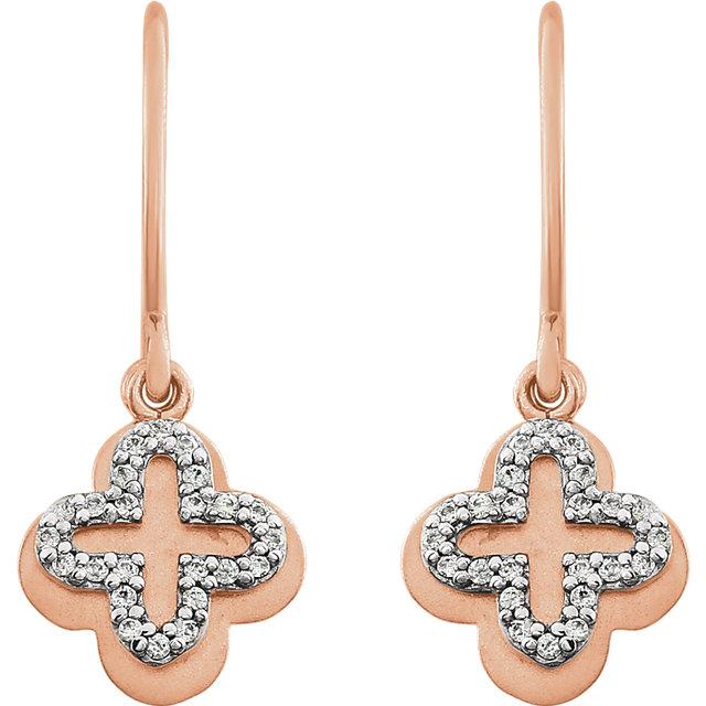 14K Rose 1/8CTW Diamond Earrings