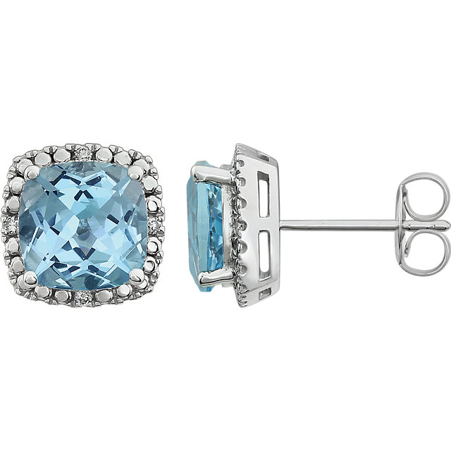 14K White Sky Blue Topaz & .06 CTW Diamond Earrings
