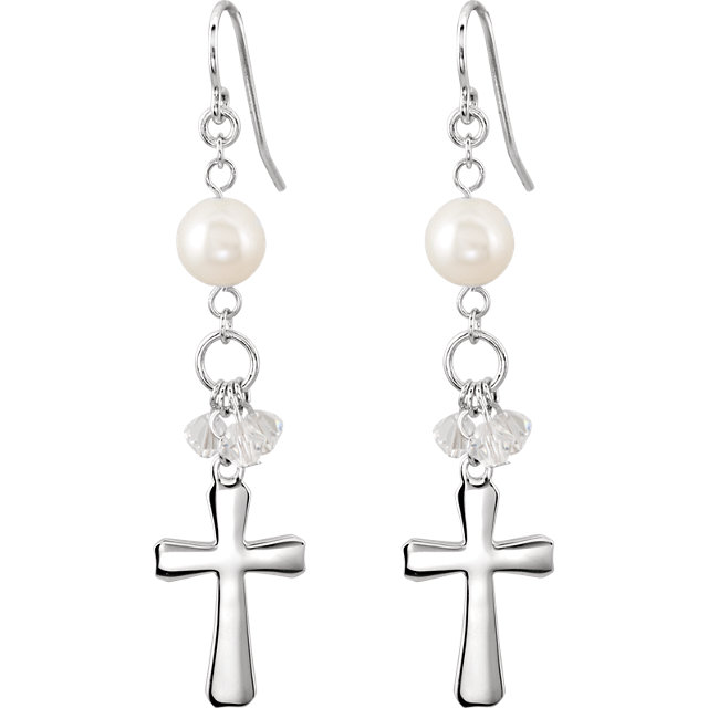 Sterling Silver 58.8x12.8mm Bridesmaid Dangle Cross Earrings with Packaging