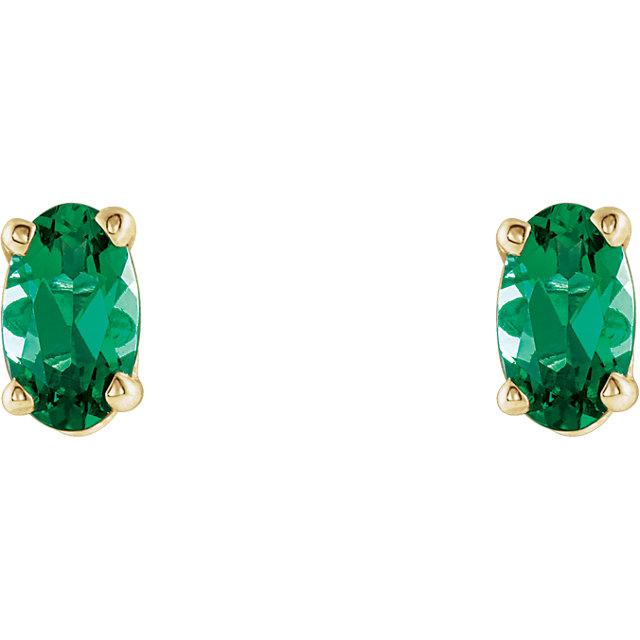 14K Yellow Chatham® Created Emerald Earrings