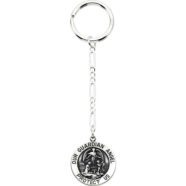 Sterling Silver 25mm Guardian Angel Key Chain