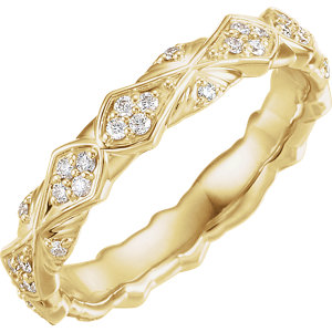 14K Yellow 1/3 CTW Diamond Sculptural-Inspired Eternity Band Size 7