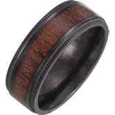 Black Titanium Beveled Edge Comfort Fit Band with Teak Wood Inlay