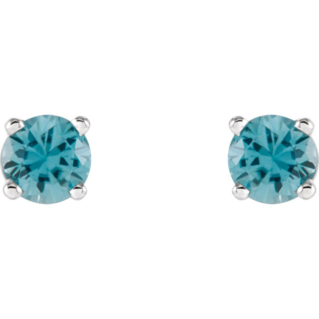14K White 4mm Round Blue Zircon Earrings