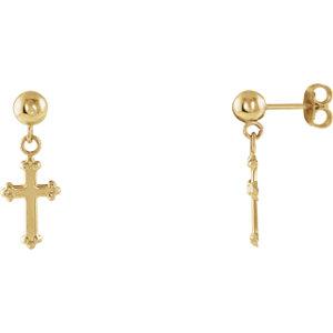 14K Yellow 11x8mm Cross Ball Earrings