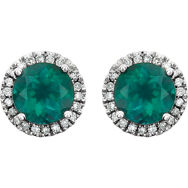 14K White Created Emerald & 1/8 CTW Diamond Earrings