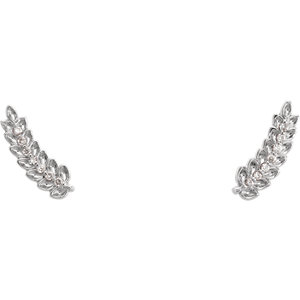 14K White .04 CTW Diamond Leaf Ear Climbers