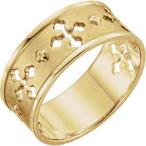 Religious Rings, 14K Yellow Pierced Cross Ring