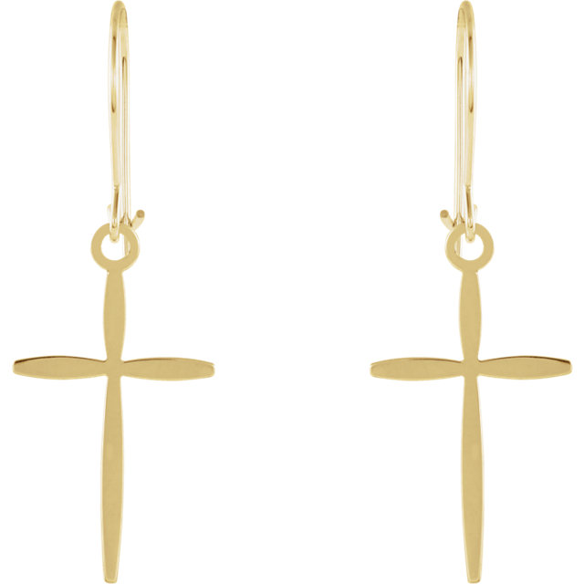 14K Yellow Cross Earrings