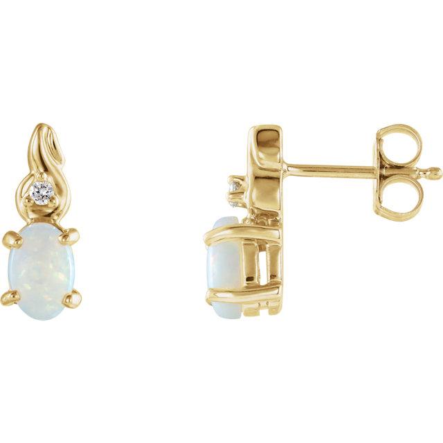 14K Yellow Opal & .03 CTW Diamond Earrings
