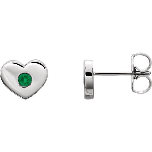 14K White Emerald Heart Earrings