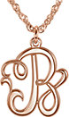 14K Rose 15 mm Single Letter Script Monogram Necklace