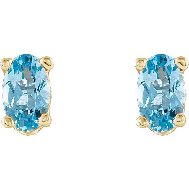 14K Yellow Aquamarine Earrings