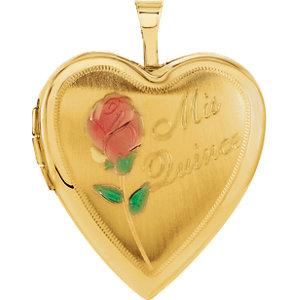 14K Yellow 20.5x19.25mm Mis Quince Heart Locket