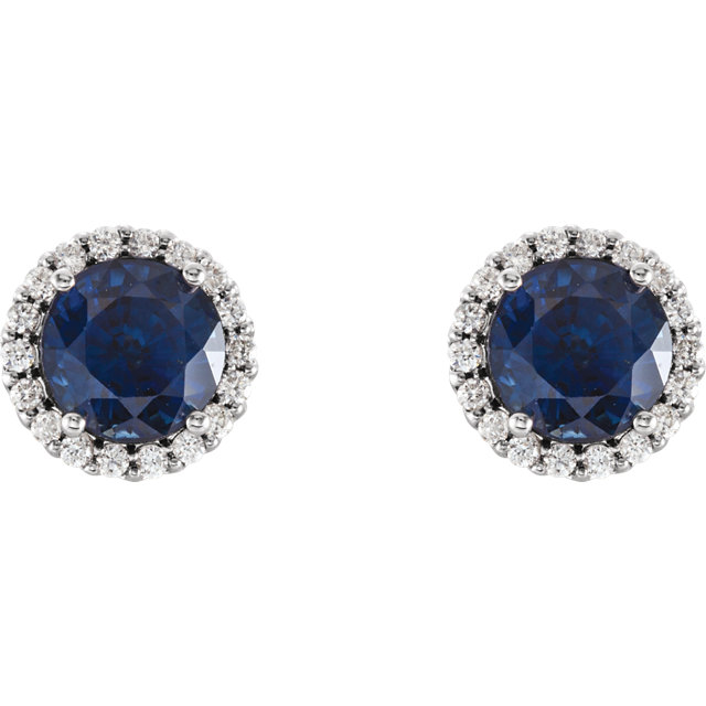 14K White Chatham® Lab-Created Blue Sapphire & 1/6 CTW Diamond Earrings