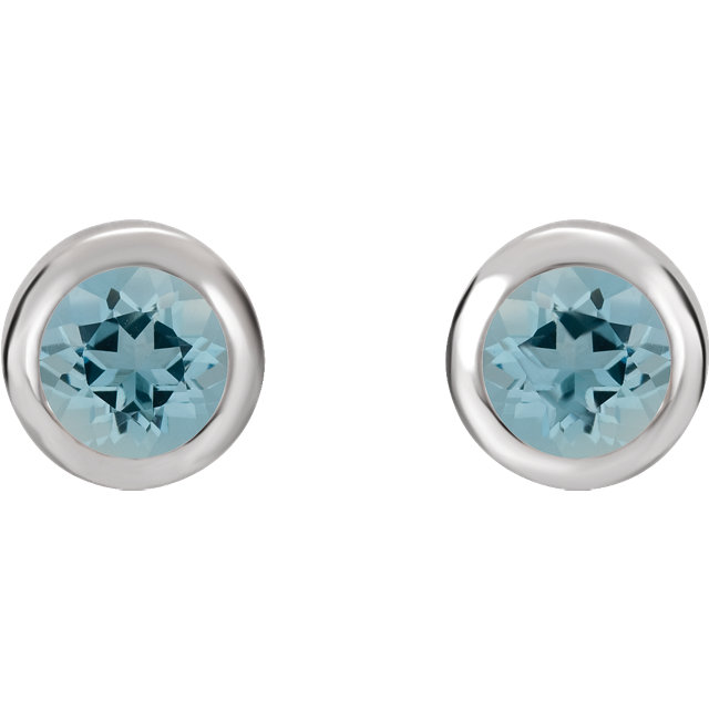 Sterling Silver 4 mm Round Imitation Aquamarine Birthstone Earrings
