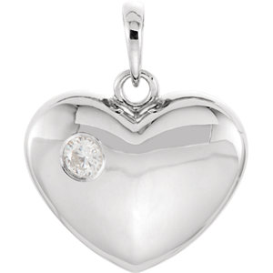 14K White 1/10 CT Diamond Heart Pendant