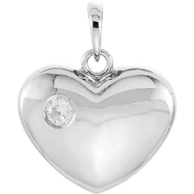 14K White 1/10 CT Diamond Heart Pendant