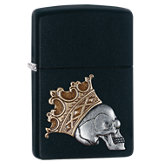 Zippo® Skull King Black Matte Emblem Attached Lighter