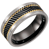 Tungsten & Ceramic Couture® Band with Gold Immerse Plating