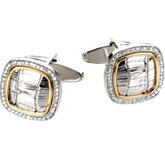 Diamond Two-Tone Cuff Links