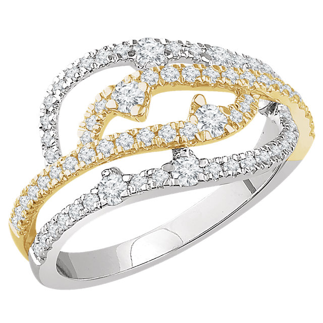 14K White & Yellow 5/8 CTW Diamond Ring