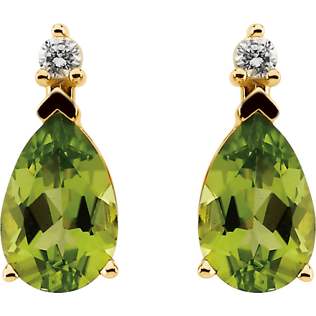 14K Yellow Peridot & .08 CTW Diamond Earrings
