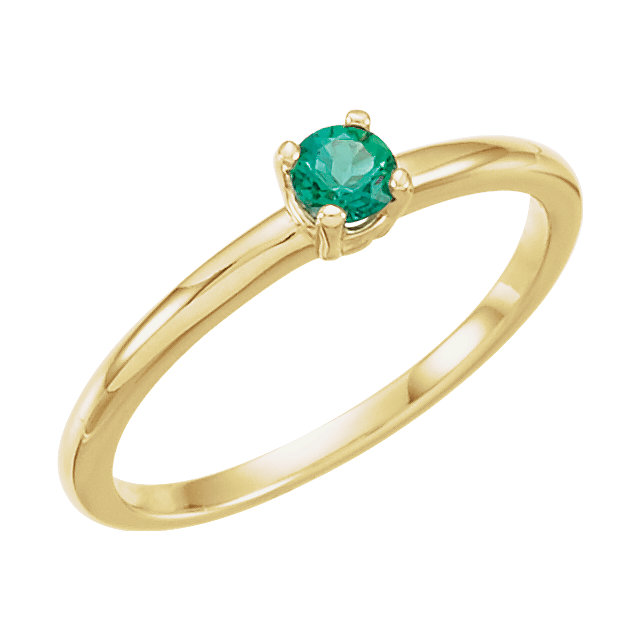 14K Yellow Imitation Emerald