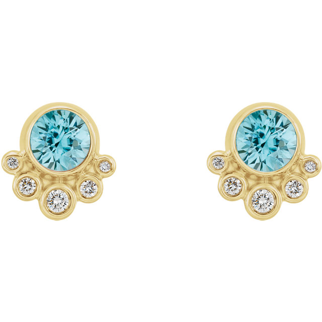 14K Yellow Blue Zircon & 1/8 CTW Diamond Earrings