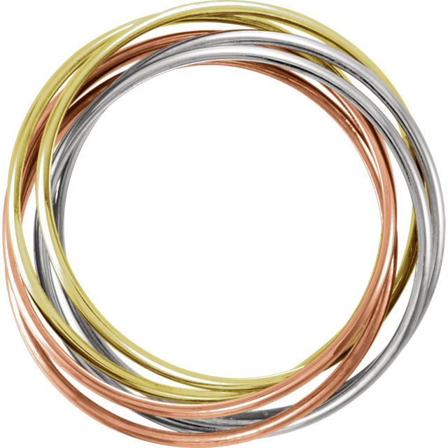 14K Yellow, White & Rose Six-Band Rolling Ring Size 6