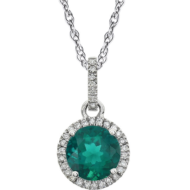14K White Created Emerald & 1/10 CTW Diamond 18