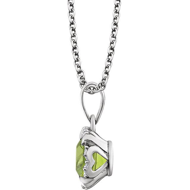 14K White Peridot & .05 CTW Diamond 18