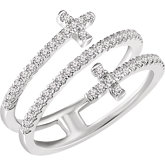 Accented Sideways Cross Ring