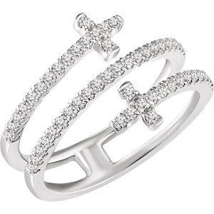 Religious Rings, 14K White 3/8 CTW Diamond Sideways Cross Ring
