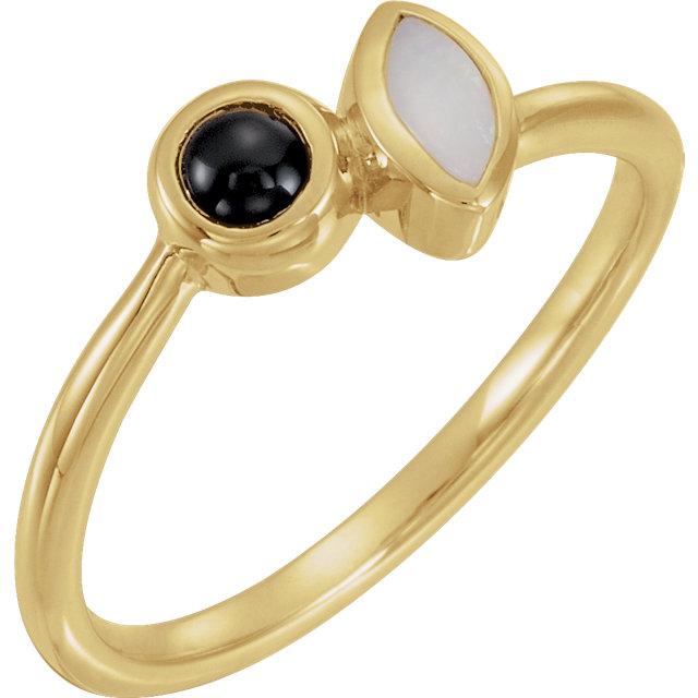 14K Yellow Opal & Black Onyx Ring