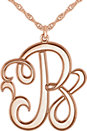 14K Rose 22 mm Single Letter Script Monogram Necklace