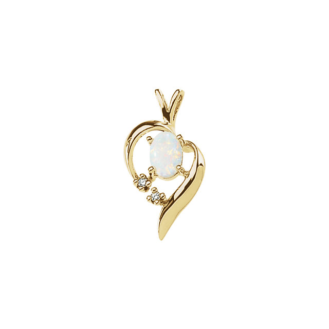 14K Yellow Opal & Diamond Pendant