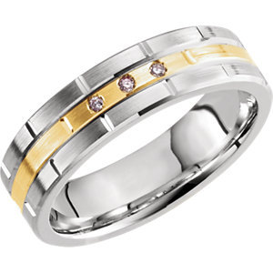 14K White & Yellow .03 CTW Diamond Grooved Band Size 10