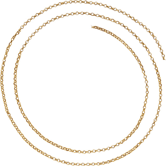 14K Yellow 1.5 mm Belcher Rolo Chain by the Inch