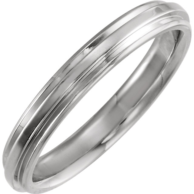 14K White 3 mm Flat Edge Comfort-Fit Band Size 6