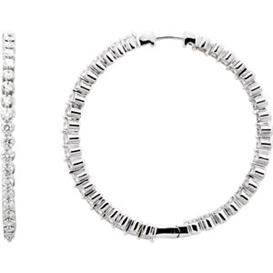 14K White 3 CTW Diamond Inside/Outside Hoop Earrings