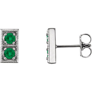 92a2f3984 14K White Chatham® Created Emerald Two-Stone Earrings | Stuller
