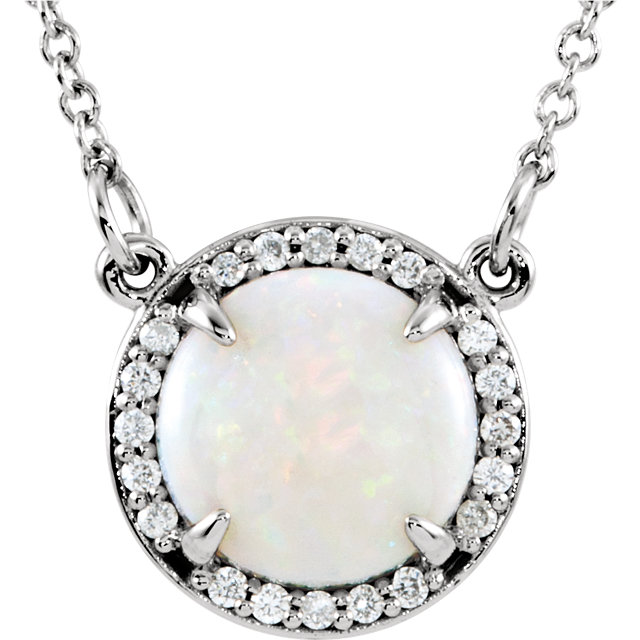 14K White Opal & .05 CTW Diamond 16
