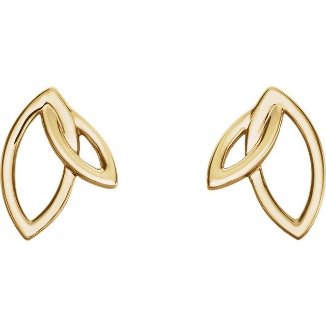 14K Yellow Double Leaf Earrings