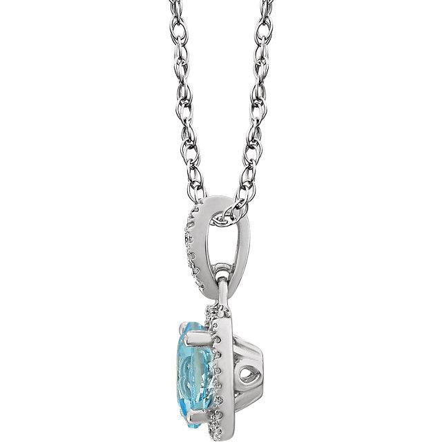 14K White Sky Blue Topaz & 1/8 CTW Diamond 18