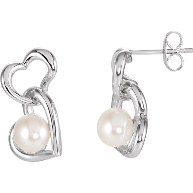 Sterling Silver Freshwater Cultured Pearl Double Heart Earrings